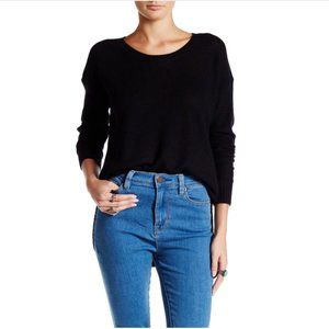 MADEWELL Chronicle Textured Basketweave High Low Knit Pullover Black Sweater